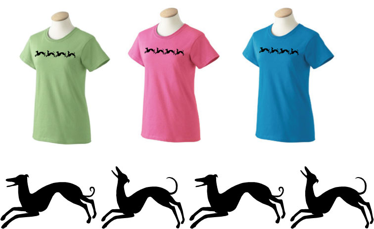 F-12 - Frolicking Dogs Ladies T-Shirt (F12)