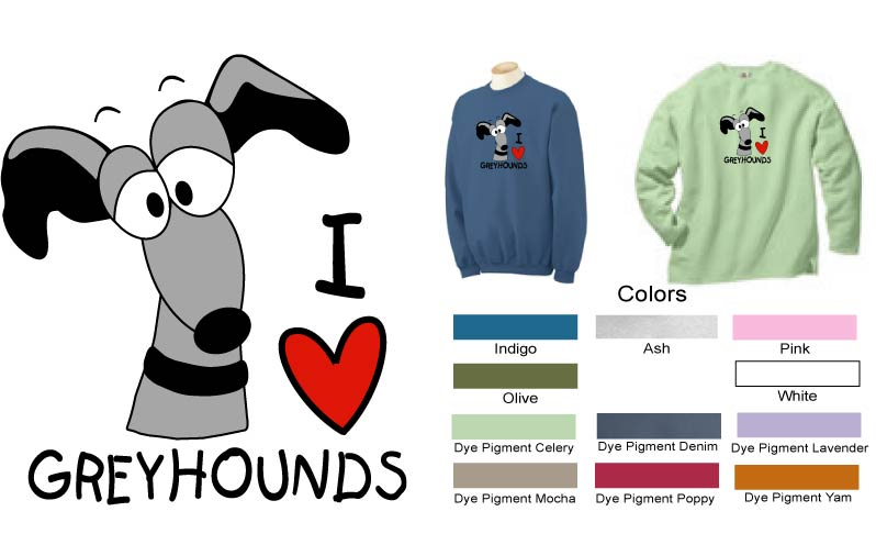 P-29 - I LOVE Greyhounds Sweatshirt (P29)