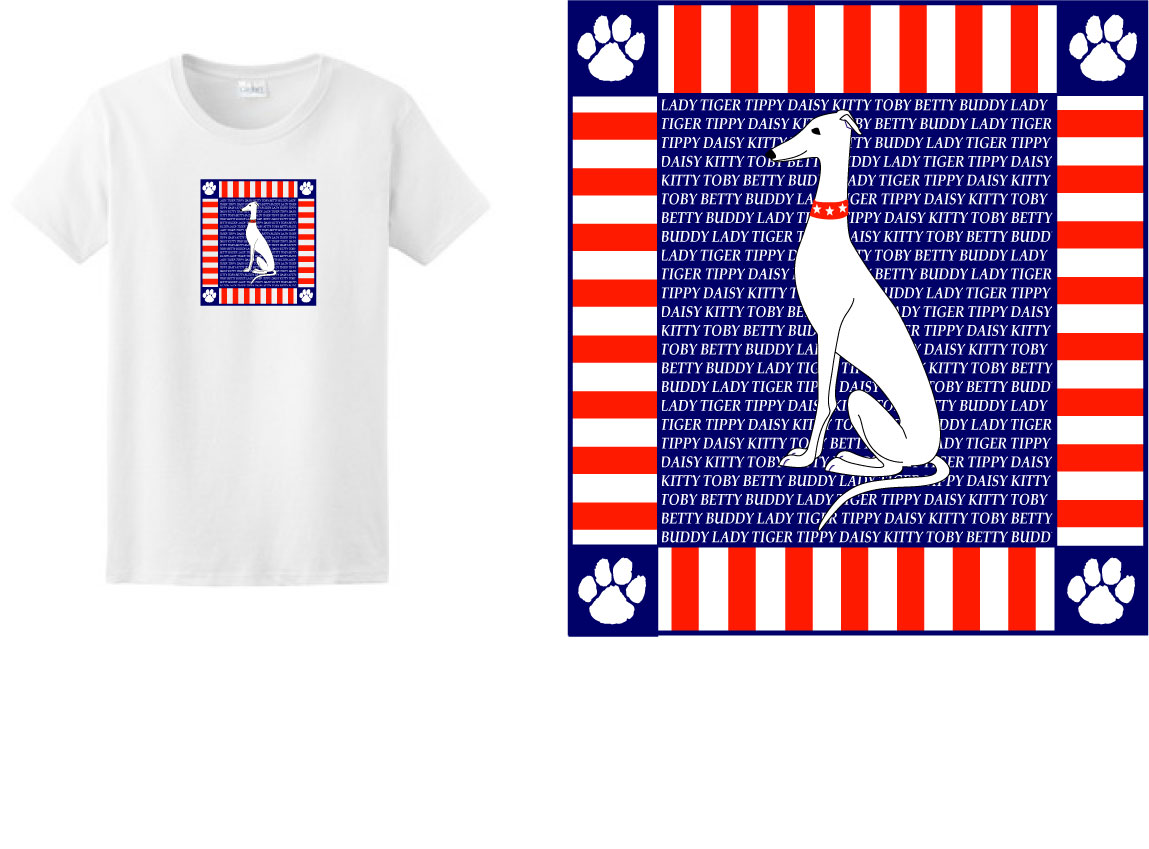 PT-4 - Paws & Stripes PERSONALIZED Ladies T-Shirt