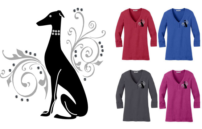 R-25 - Swirls Sitting Dog Henley