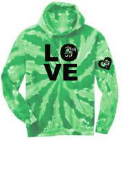 P-43 - LOVE Tie Dye Hooded Pullover Fleece (P34)