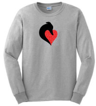 PER-1 - Silhouette Head and PERSONALIZED Heart on Long Sleeve Tee
