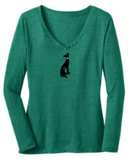 R-15 - Collar Dog on Ladies Long Sleeve V-Neck