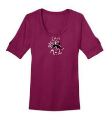 R-21 - Swirls Small on Ladies Short Sleeve Dress T-Shirt